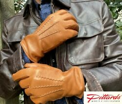 BRAND NEW Men#x27;s Classic Wool Lined Cognac Leather Gloves BRAND NEW C $78.69