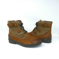 UGG Women#x27;s Cecile Chestnut Waterproof Leather Duck Boots Size 7 EUC $64.99