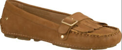 Ugg Dempsey Tan Brown Leather Driving Loafer Moccasin Flats Women US 9 chestnut $29.00