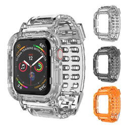 Apple Watch Series SE 6 5 4 3 Clear Case TPU Strap Band Wristband 44 40 42 38mm $6.98