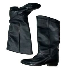 Vintage 80's Womens Leather Craft Black Slouch Boot sz11 $26.60
