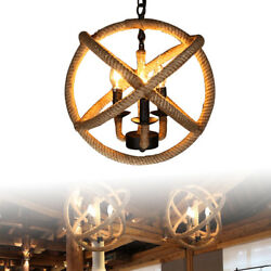Industrial Vintage Rope ChandelierSphere Ceiling Vintage Light for 3 lights $40.05