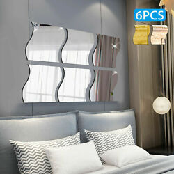 6PC 3D Mirror Wall Sticker Waves Shape Self adhesive Home Bedroom Wall Decor $7.99