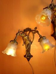 Pair of French Antique Art Nouveau Figurative Brass Gold Sconces Antique Shades $599.00