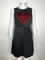 Rare Vtg Moschino 90s Cheap And Chic Black Red Heart Dress M $328.00