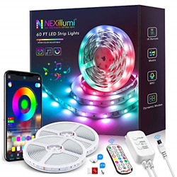 60ft LED Strip Lights with Remote Music Sync LED Lights for Bedroom App Control $30.55