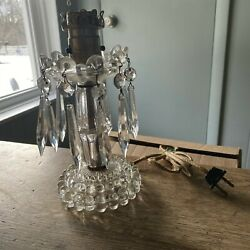 SMALL VINTAGE CUT CRYSTAL GLASS LAMP WITH PRISMS NEED REPAIR REWIRE $49.99