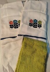 Embroidered Flowers Coordinating Kitchen Towels Set Of 4 100% Cotton $15.97
