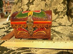 Vintage box leather covered hand painted $24.95