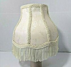Vintage Lamp with Victorian Fringe Shade Ivory Cream 8 panel brocade small $54.99