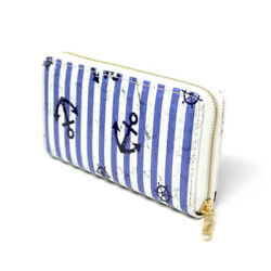 Women Novelty Nautical Anchor wallet credit card holder with Striped blue print $14.00