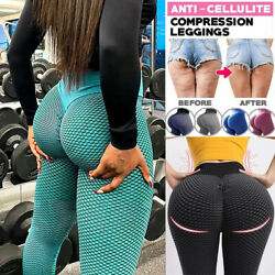 Women Yoga Pants Anti Cellulite High Waisted Scrunch Push Up Honeycomb Leggings $14.68