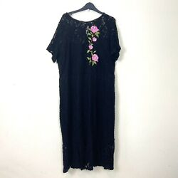 George Dress 22 Black Lace Fitted Floral Embroidered Stretch Plus Occasion Shift GBP 13.95
