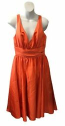 Eden Maids Bridesmaid Sleeveless Dress Sz 8 Orange Prom Formal Party Pockets