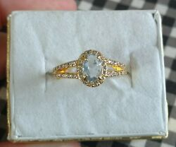 Ring Bomb Party Size 6 Periwinkle amp; White Topaz on 18k Yellow Gold Plated Band $15.00