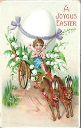 A Joyous Easter Embossed Egg Carriage Postcard $3.99