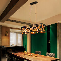Industrial Chandelier Light Wood Rectangular Ceiling Vintage Droplight Pendant $258.00