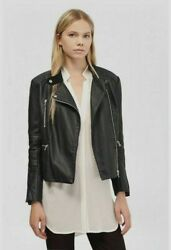 French Connection Faux Leather Biker Jacket Black BNWT Womens Designer Coats