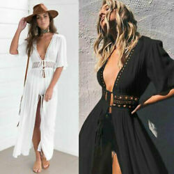 Women Lace Crochet Bikini Beachwear Cover UP Beach Dress Summer Bathing Suit $15.05