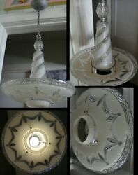 17quot; glass art deco ceiling light fixture hanging chandelier Antique Vintage EXC $229.00