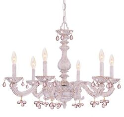 Crystorama Lighting 5226 AW ROSA Sutton Six Light Chandelier Antique White $443.20