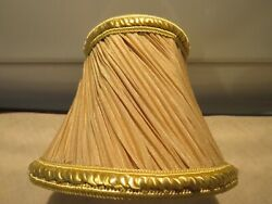 1 Lovely Pleated amp; Adorned Two Tone Gold Sconce Chandelier Shades EUC $6.50