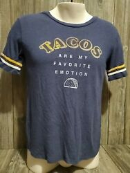 Tacos Are My Favorite Emotion Graphic T shirt Size Medium Blue $4.99