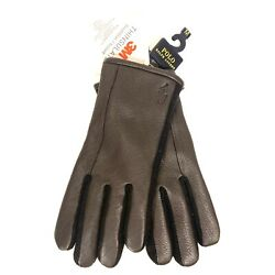 POLO RALPH LAUREN Mens Leather Touch Screen Compatible Gloves Brown MSRP $68 $42.99