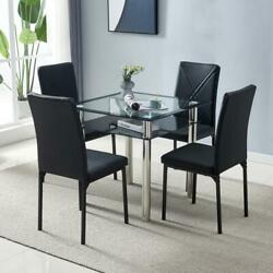 5 Piece Dining Table Sets Square Glass Metal 4 PU Leather Chairs Dining Room NEW $195.99