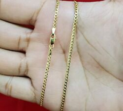 10K Solid Yellow Gold Cuban Curb Link Chain Necklace 2MM 16quot; 18quot; 20quot; 22quot; 24quot; 26quot; $98.99