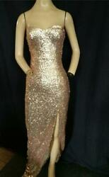GOLD SEQUIN STRAPLESS STRETCH FITTED SLIT WIGGLE LONG PROM DRESS 34quot; BUST
