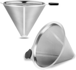 Coffee Filter Stainless Steel Pour Over Metal Dripper Reusable Cone 2 Pieces Kit $22.26