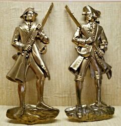 Vintage decoration minute man colonial army 20quot; tall solid brass $49.95