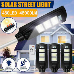 95000LM Commercial Solar Street Light LED Outdoor IP67 Dusk to Dawn Road Lamp