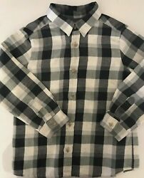 BONPOINT Designer Boys Grey Off White Checked Shirt 3Y EUC