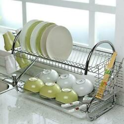 Large Capacity Dish Rack 2 Tier Drainer Drying Kitchen Storage Stainless Steel $24.79