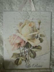 Shabby Chic French PARIS Roses Hanging Plaque 8quot; x 10quot; $10.00