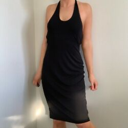 Vintage Y2K Black Halter Midi Dress Small by BR