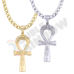 Vintage Egyptian Ankh Cross Men#x27;s Stainless Steel Necklace Pendant Chain*P264 $14.23