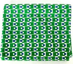 Vintage Material Fabric Stretch Knit Geometric Pattern BOLD Green White MCM $84.31