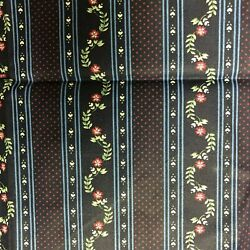 Vintage Material quot;FABRIC COUNTRYquot; Floral Dark Blue Traditional Wallpaper CUTE $21.74