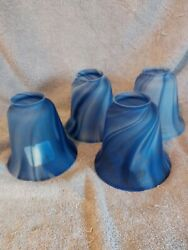 4 New Vianne Mouth Blown Glass Pendant Shades Made in France Blue Frost Swirls $129.99