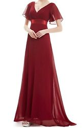 Ever Pretty Plus V neck Long Bridesmaid Dress Chiffon Evening Party Gown size 14