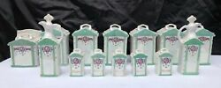 Vintage 14 Piece Mepoco Luster Ware Germany Glass Canisters Spice Oil Holders $129.95
