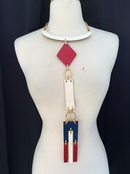 1970#x27;s VINTAGE Red White Blue RUNWAY STATEMENT Bib Choker LEATHER NECKLACE NWT