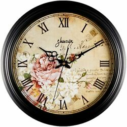 SALE Retro Vintage 12quot; Wall Clock Flowers Floral Silent for Office Home Kitchen $23.04