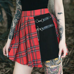 Women Punk Sexy Gothic Red Panelled Black Plaid Asymmetrical Pleated Short Skirt