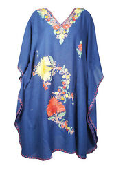 Women#x27;s Blue Embellished Floral Short Caftan Loose Beach Cover Up Dresses 4XL $28.67