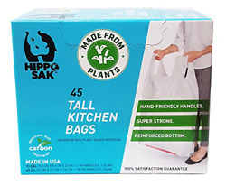 Plant Based Hippo Sak Tall Kitchen Bags with Handles 13 Gallon 45 Count $19.49