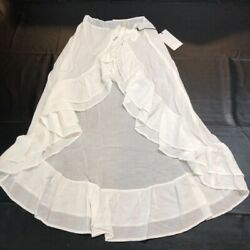 Lovewave Womens Lakeview Swim Sarong White Ruffles Self Tie Long Cover Up XS New $20.99